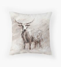 Exmoor Cow in Blizzard Throw Pillow