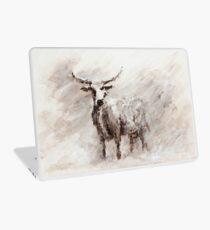 Exmoor Cow in Blizzard Laptop Skin