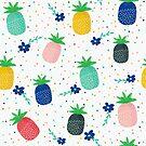 Colorful summer pineapple & flowers pattern by artonwear