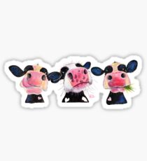 CoW PRiNT ' THe NoSeY CoWS ' by Shirley MacArthur Sticker