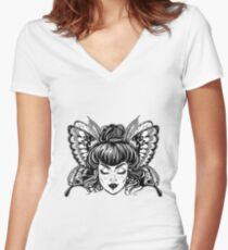 Beautiful butterfly or moth with elf girl face. Women's Fitted V-Neck T-Shirt