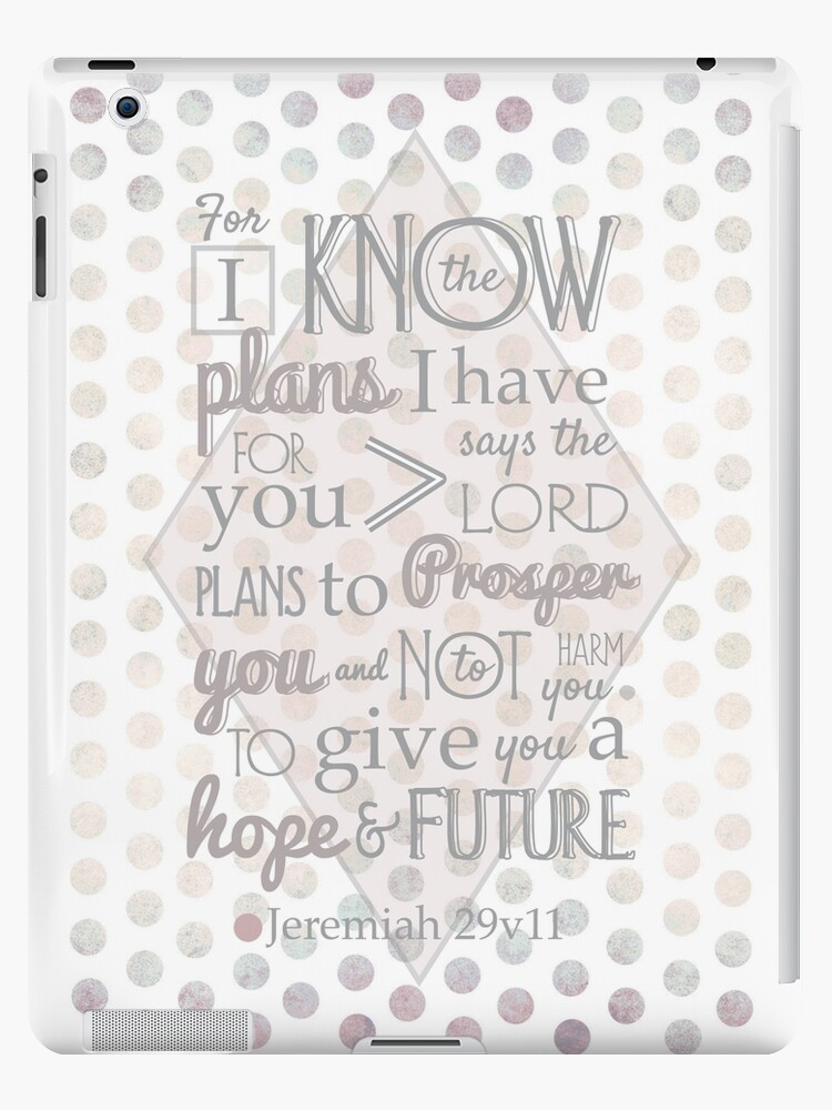 Quirky Modern Bible Verse, Jeremiah 29 verse 11 'For I know the plans I have for you says the lord. Plans to prosper you and not to harm you. To give you a hope and a future' Patterned, Scripture art. by TheFinerThemes