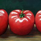 The Three Tomatoes - realistic still life food art by LindaAppleArt