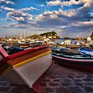 Boats  at the port of Acitrezza, Sicily by Andrea Rapisarda