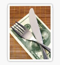 Cost of Living concept - fork and knife with Dollar banknotes Sticker