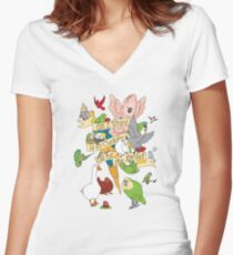 Cuddle All The Birds Women's Fitted V-Neck T-Shirt
