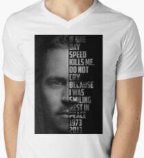 Paul Walker Text Portrait Men's V-Neck T-Shirt
