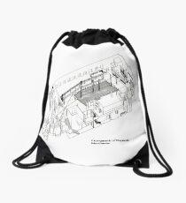 Axonometric of Hacienda in White Drawstring Bag