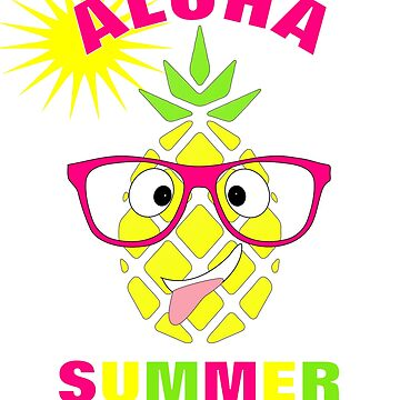 Aloha Tropical Pineapple Fun Summer Design by Artification