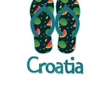 Croatia Vintage Retro Watermelon by TrevelyanPrints