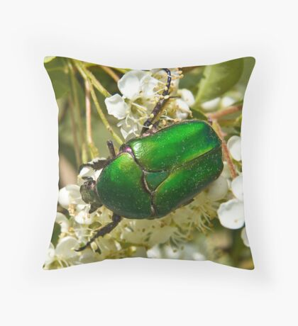 Green Beetle 1 Throw Pillow