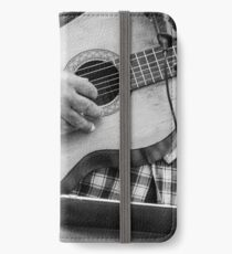 Street guitarist plays classical guitar black and white photo iPhone Wallet/Case/Skin