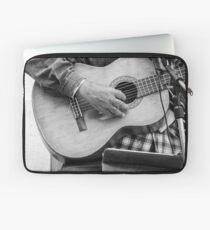 Street guitarist plays classical guitar black and white photo Laptop Sleeve