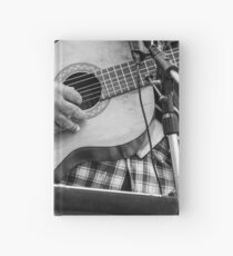 Street guitarist plays classical guitar black and white photo Hardcover Journal