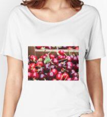Box of big red cherries and natural vegetarian vegan biologic Women's Relaxed Fit T-Shirt