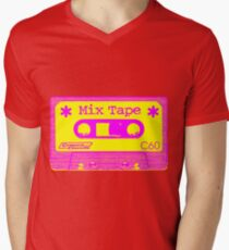 Psychedelic Mix Tape - Magenta and Yellow Mens V-Neck T-Shirt