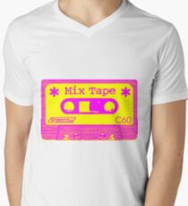 Psychedelic Mix Tape - Magenta and Yellow Men's V-Neck T-Shirt