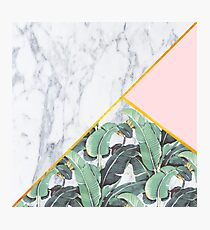 Marble/Banana Leaves/Pink Photographic Print