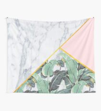 Marble/Banana Leaves/Pink Wall Tapestry