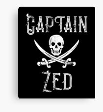 Personalized Captain Zed Shirt Vintage Pirates Shirt Personal Name Pirate TShirt Canvas Print