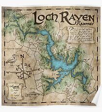 Loch Raven Reservoir Hiking Trail Map - Antique Cartography Poster