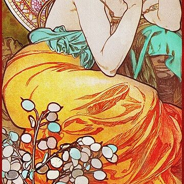 Art Nouveau Woman with Stained Glass  by dianegaddis