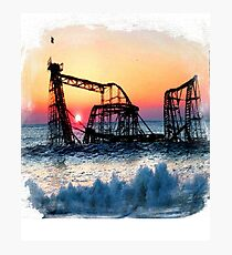 Beach Shore Roller Coaster After Sandy Shore New Jersey Photographic Print
