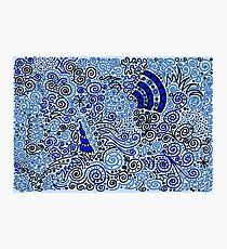Blue Doodle Pattern Photographic Print