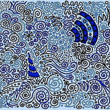 Blue Doodle Pattern by CTWuellner