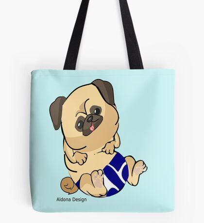 Pug in blue Tote Bag