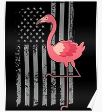 American Flag Pink Flamingo Independence Day USA Poster
