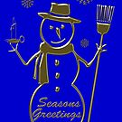 Gold Snowman Seasons Greetings by David Dehner