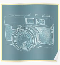 Vintage 35mm Film Camera Blue Pop Art Poster