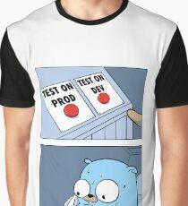 Camiseta gráfica Golang Gopher dos botones