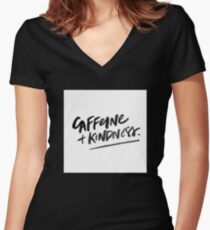 Caffeine and Kindness Women's Fitted V-Neck T-Shirt