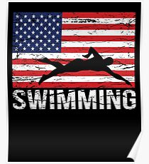 Swimmer American Flag Gift Swimming Fourth July Poster