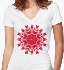 Red Watercolor Rose Petal Abstract Floral Mandala Women's Fitted V-Neck T-Shirt
