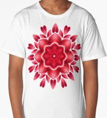Red Watercolor Rose Petal Abstract Floral Mandala Long T-Shirt