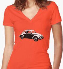VW Super Beetle White Women's Fitted V-Neck T-Shirt