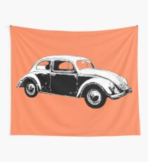 VW Super Beetle White Wall Tapestry