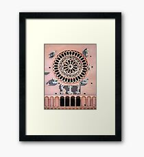Assisi Cathedral. oil painting of the rose window.  Italy. Framed Print