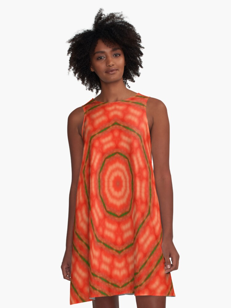 Orange  Fractal kaleidoscope A-Line Dress Front