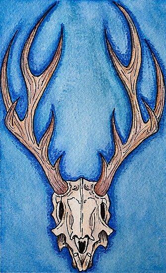 Láminas fotográficas «Ilustración acuarela cráneo de ciervo por ...