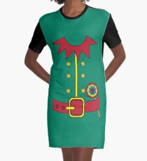 Elf Costume for Carnaval Christmas Halloween Party Graphic T-Shirt Dress