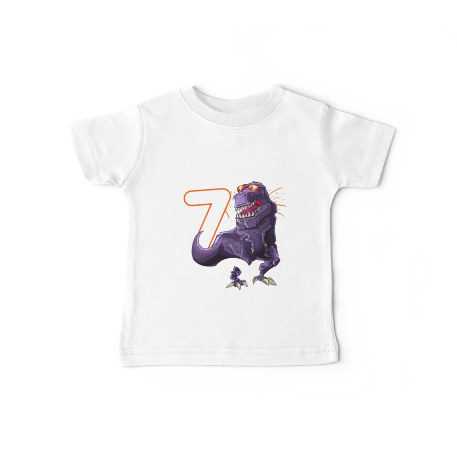 Funny T Rex Birthday Boy 7 Dinosaur Kids 7th Shirt By Iceteeselling