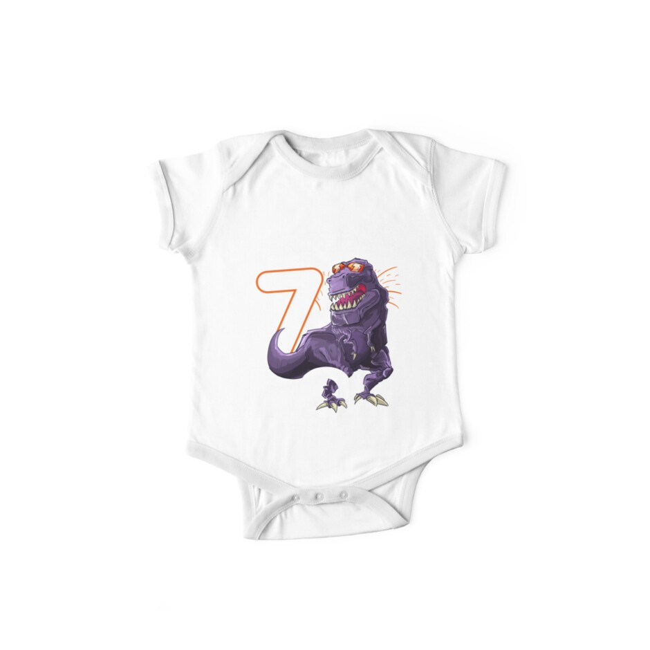 Funny T Rex Birthday Boy 7 Dinosaur Kids 7th Shirt