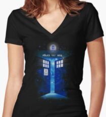 Time Gate Women's Fitted V-Neck T-Shirt