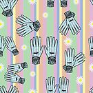 Seamless Hand-Drawn Gardening Gloves Background by Stacey Lynn Payne