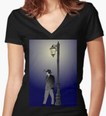Detective under street lamp Women's Fitted V-Neck T-Shirt