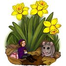 Daffodil Fairy and Mouse Friend by Hanna-Riikka Art